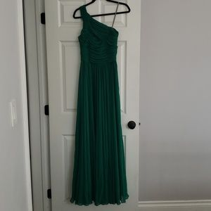 Halston Heritage Green Pleated Gown